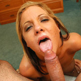Dick swallowing slut enjoys a facial