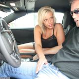 Honry MILF Carey jerking big cock inside the car